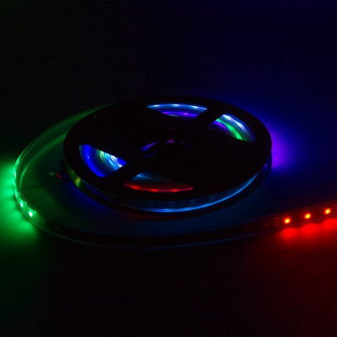 RGB LED Strip SMD5050, WS2811 (white, with controls, IP67, 12 V, 60 LEDs/m, 5 m) Preview 1